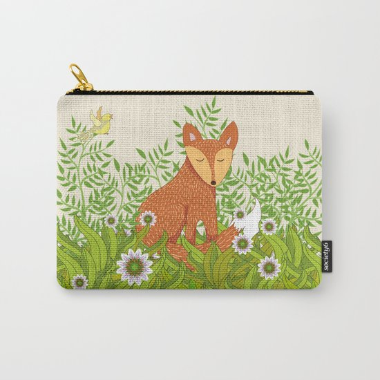 Fox in the Daisies Carry-All Pouch