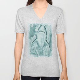 Great White Shark In Teal Watercolor Art Unisex V-Neck