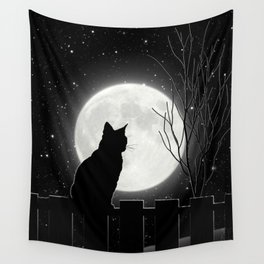 Silent Night Cat and full moon Wall Tapestry