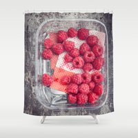 baking Shower Curtains featuring Raspberries in plastic container on old metal baking tray by Elisabeth Coelfen