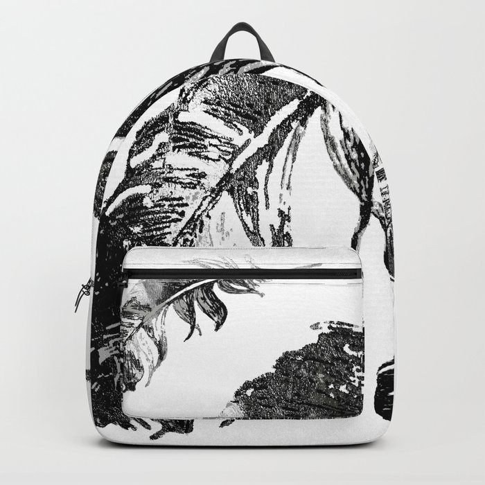 FEATHERS IN BLACK WHITE AND GRAY Backpack