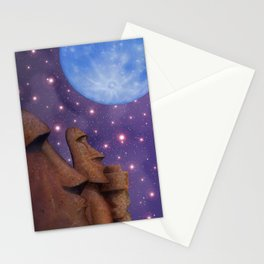 Moai & Moon in Universe Stationery Cards
