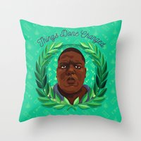 notorious Throw Pillows featuring NOTORIOUS by badOdds