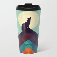 Howling Wild Wolf Metal Travel Mug