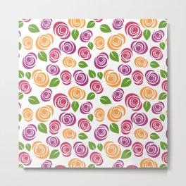 Pretty Orange Pink Purple Green Floral Pattern Metal Print