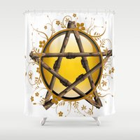 pentagram Shower Curtains featuring Flower Pentagram by The Painted Kat
