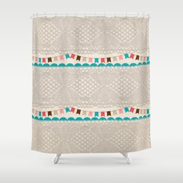 Vintage elegant ivory floral lace colorful flags pattern Shower Curtain