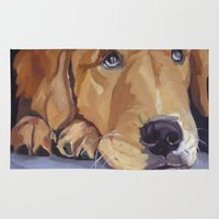 golden retriever Area & Throw Rugs featuring Golden Retriever Eyes by Barking Dog Creations Studio