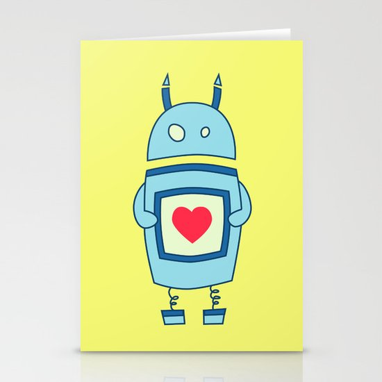 Cute Clumsy Robot With Heart Stationery Cards