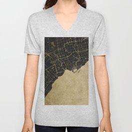 Toronto Gold and Black Street Map Unisex V-Neck