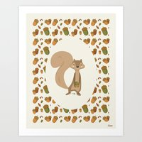 squirrel Art Prints featuring Squirrel by Jane Mathieu