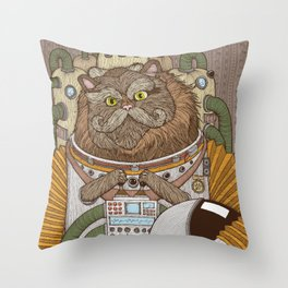 Commander Whiskers Throw Pillow