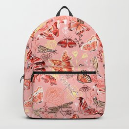 Dragonflies, Butterflies and Moths With Plants on Flamingo Pink Backpack