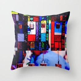 Glass Wind Chimes Throw Pillow