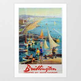 Bridlington Yorkshires Gay Seaside Playground Vintage Travel Poster Art Print