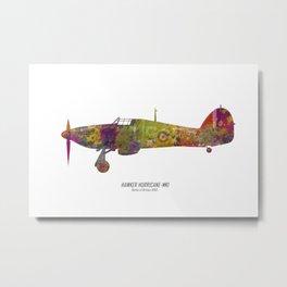 Hurricane-Airplane in watercolor Metal Print