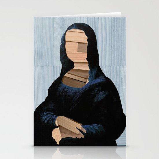Mona Lisa - blue shining WoodCut Collage Stationery Cards
