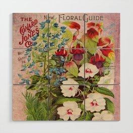 Vintage Flowers Advertisement Collage Wood Wall Art