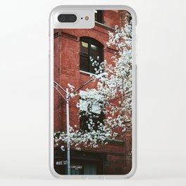 walks in the financial district Clear iPhone Case