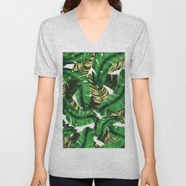 Swaying banana leaf palm green Unisex V-Neck