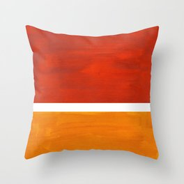 Burnt Orange Yellow Ochre Mid Century Modern Abstract Minimalist Rothko Color Field Squares Throw Pillow