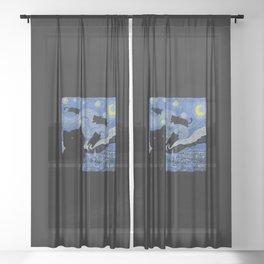 The Starry Cat Night Sheer Curtain