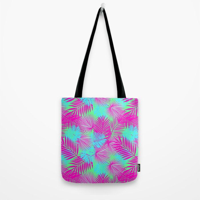 Neon Pink & Blue Tropical Print Tote Bag
