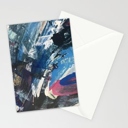 Flourish [3]: a vibrant abstract mixed-media piece in blues, magenta, and gold Stationery Cards