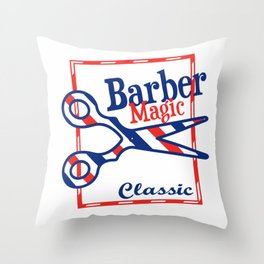 Barber Magic - red, white, blue Throw Pillow