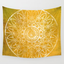 Fire Blossom - Yellow Wall Tapestry
