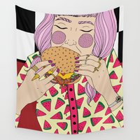 burger Wall Tapestries featuring Burger by Phie Hackett