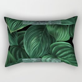 tropical green pattern on black Rectangular Pillow