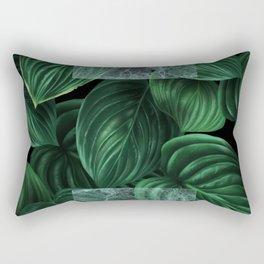 tropical green pattern on black Rectangular Pillow