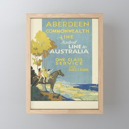 retro aberdeen & commonwealth line   fastest line to australia. circa 1935  Framed Mini Art Print