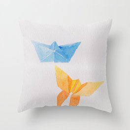 Origami-boat and butterfly Throw Pillow