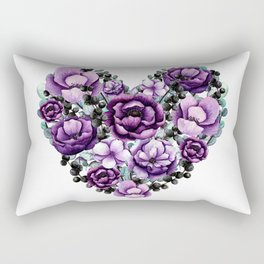 Purple Floral Heart Design Rectangular Pillow