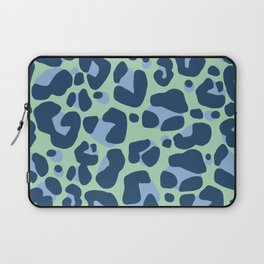 Leopard Print Navy and Green Pattern Laptop Sleeve