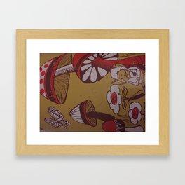 mushrooms and flowers Framed Art Print