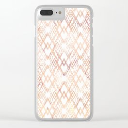 Golden beige pattern on white. Clear iPhone Case