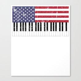 American Flag Piano design Canvas Print