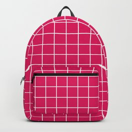 Ruby - fuchsia color - White Lines Grid Pattern Backpack