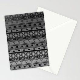 black and white geometric striped pattern Stationery Cards