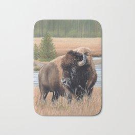 American Bison Painting Bath Mat