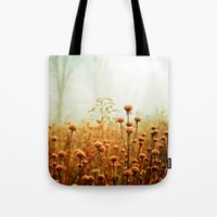 woods Tote Bags featuring Daybreak in the Meadow by Olivia Joy StClaire