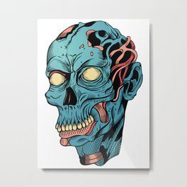 Cool blue zombie head - apocalypse, halloween, horror, monsters, dead, pop culture, skull, fantasy Metal Print