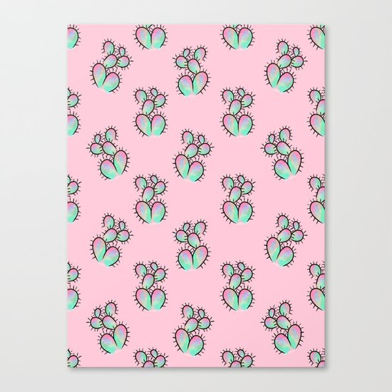 Pop Cactus Pattern Canvas Print