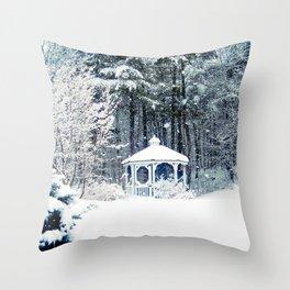Snowy Gazebo Throw Pillow