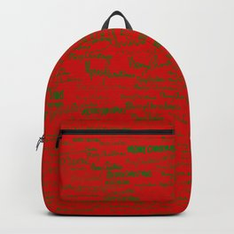Merry Christmas, green on red Backpack