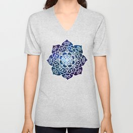 Galaxy Mandala Purple Blue Space Nebula Flower Unisex V-Neck