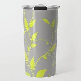 FLOWERY VINES | grey lime green Travel Mug